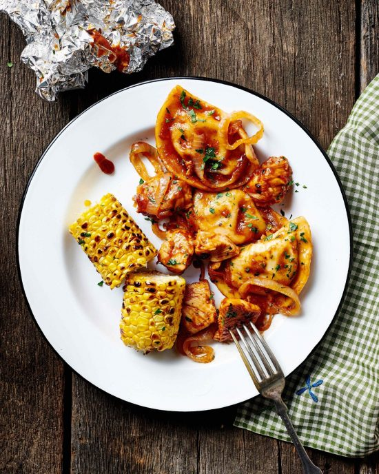 BBQ Chicken and Pierogy Packets