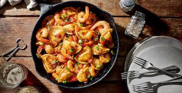Grilled Cajun Shrimp and Pierogy Skillet