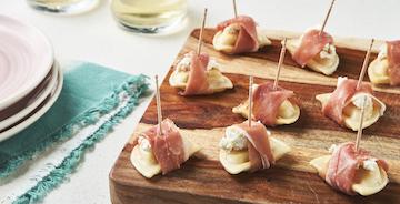 Goat Cheese and Prosciutto-Wrapped Mini Pierogies