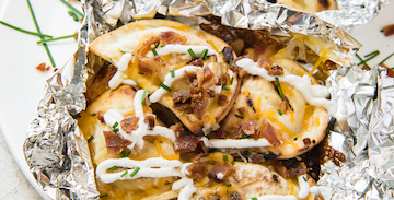 Cheesy Grilled Pierogy Packets with Bacon