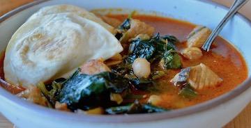 Spanish-Style Pork and Pierogy Stew