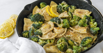 Lemon Broccoli Pierogy Skillet