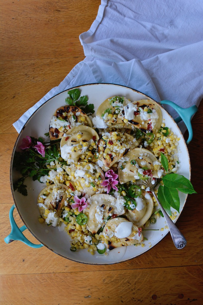Grilled Pierogy Mexican Street Corn