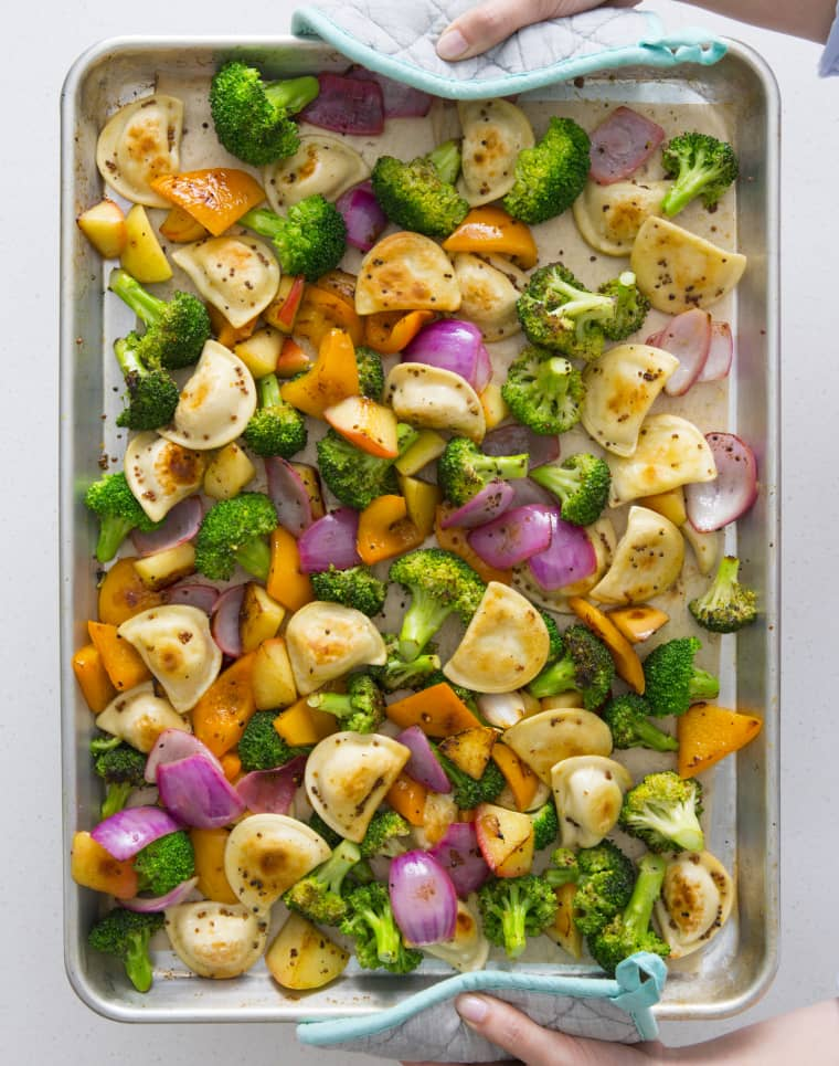 Recipe: Easy Mini Pierogy & Veggie Sheet Pan Dinner