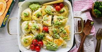 Crispy Baked Pierogies with Broccoli Pesto