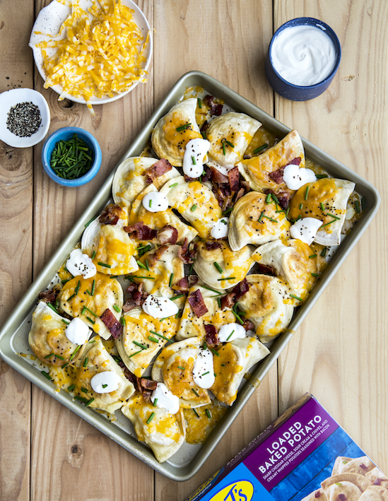 Loaded Baked Potato Pierogy Sheet Pan